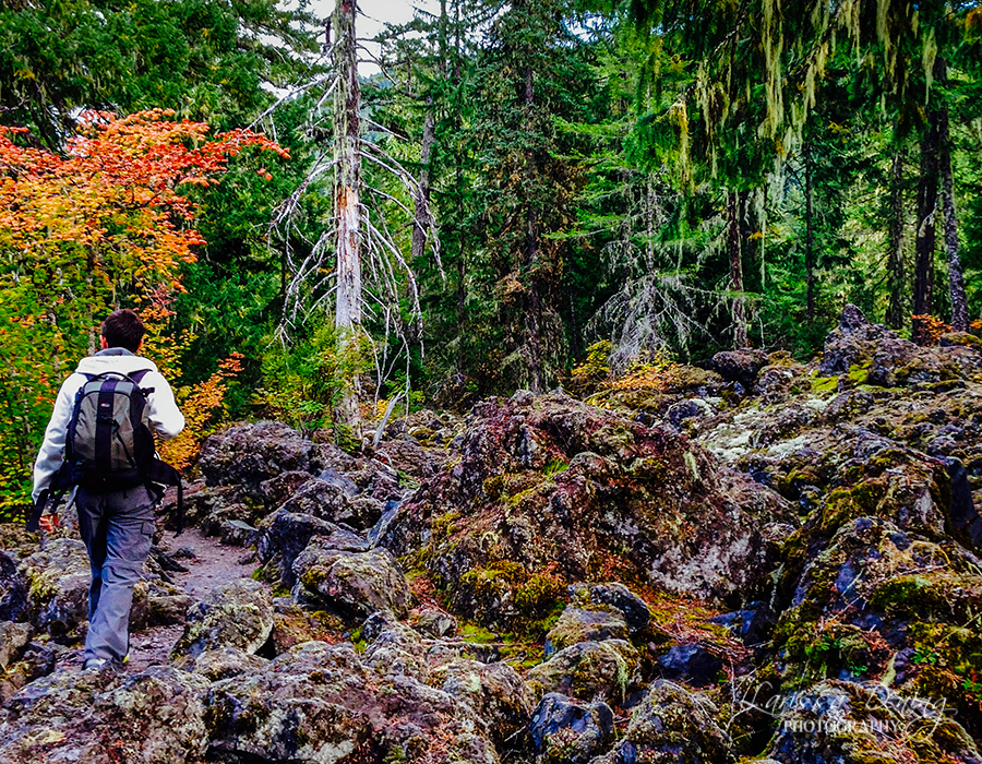 Crossing the lava field to get to Proxy Falls