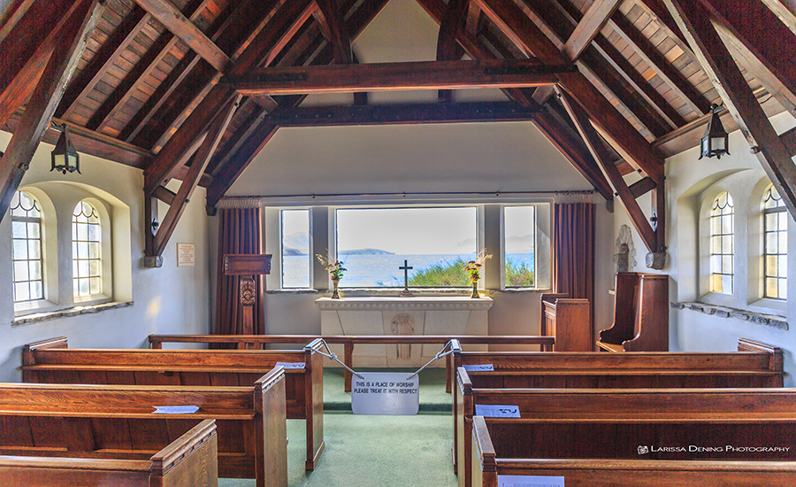 Views of the lake from inside the church