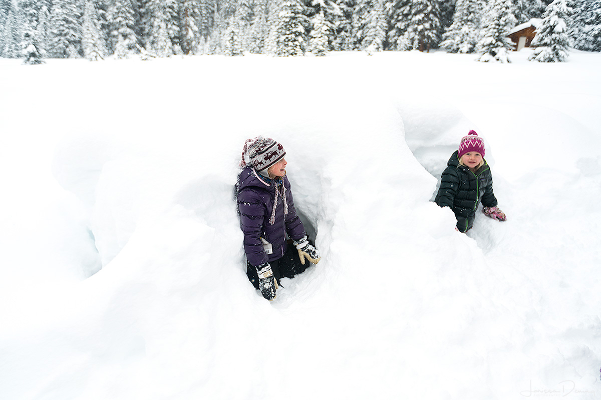 Kids playing in the snow, Shadow Lake Lodge