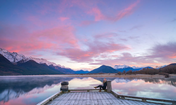 Watching the sun rise from Glenorchy jetty, New Zealand