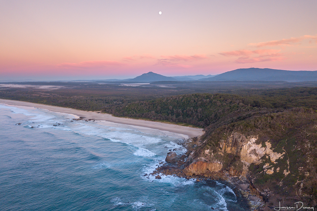 Moon rising over Crowdy Bay National Park, NSW