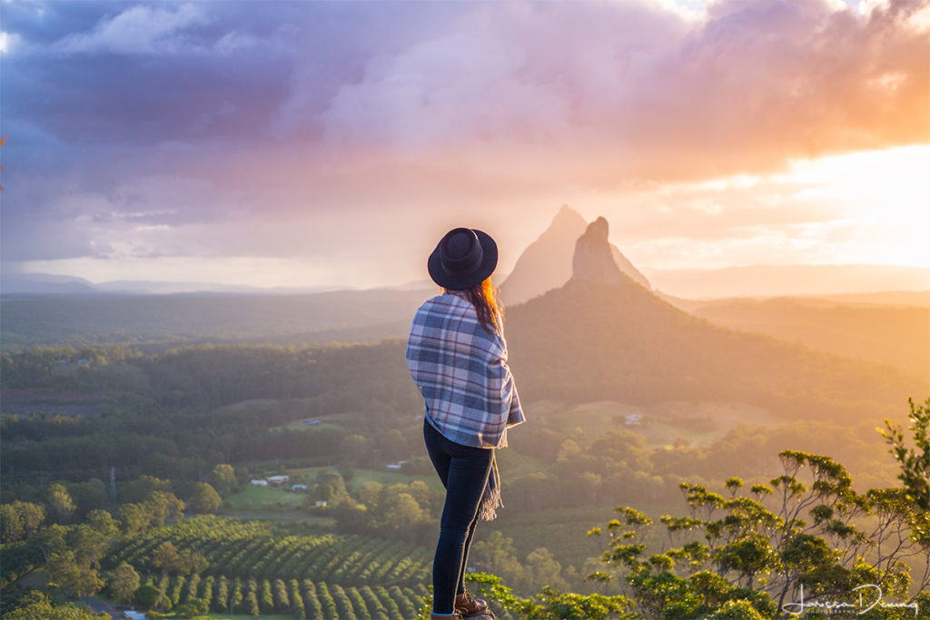 Sunset Views from my favourite - Mount Ngungun. The Glasshouse Mountains